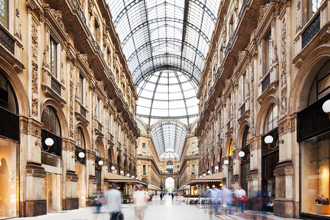 In the magnificent Galleria Vittorio Emanuele II arcade, shopping connoisseurs' hearts will skip a beat. Those with the necessary funds can accoutre themselves here