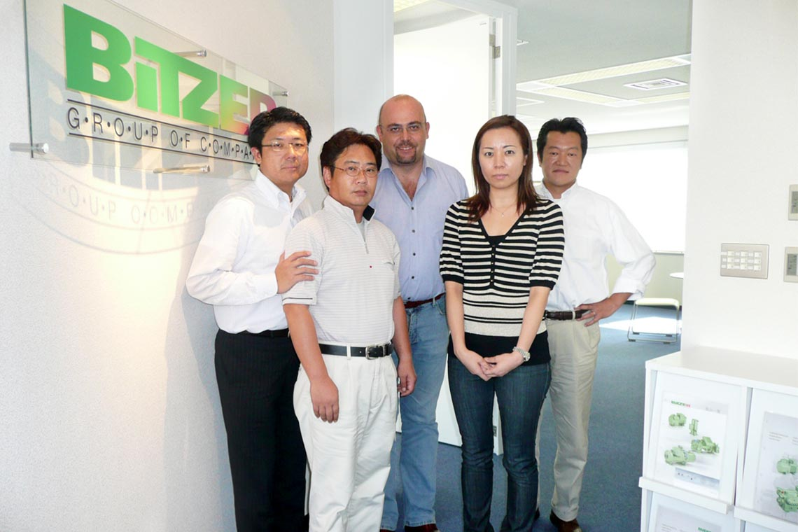 The team in the early days of the Tokyo office, with CSMO Gianni Parlanti (middle) and Sales Manager Toru Nakano (left)