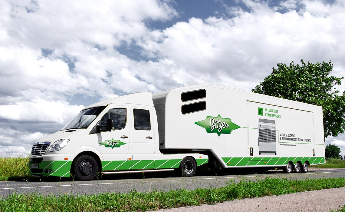 The eye-catching truck was transformed into a mobile showroom