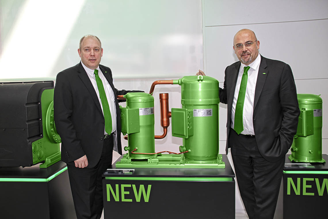 Rainer Große-Kracht, Board Member and Chief Technology Officer at BITZER, and Gianni Parlanti, Board Member and Chief Sales and Marketing Officer at BITZER, at the China Refrigeration 2018 in Beijing