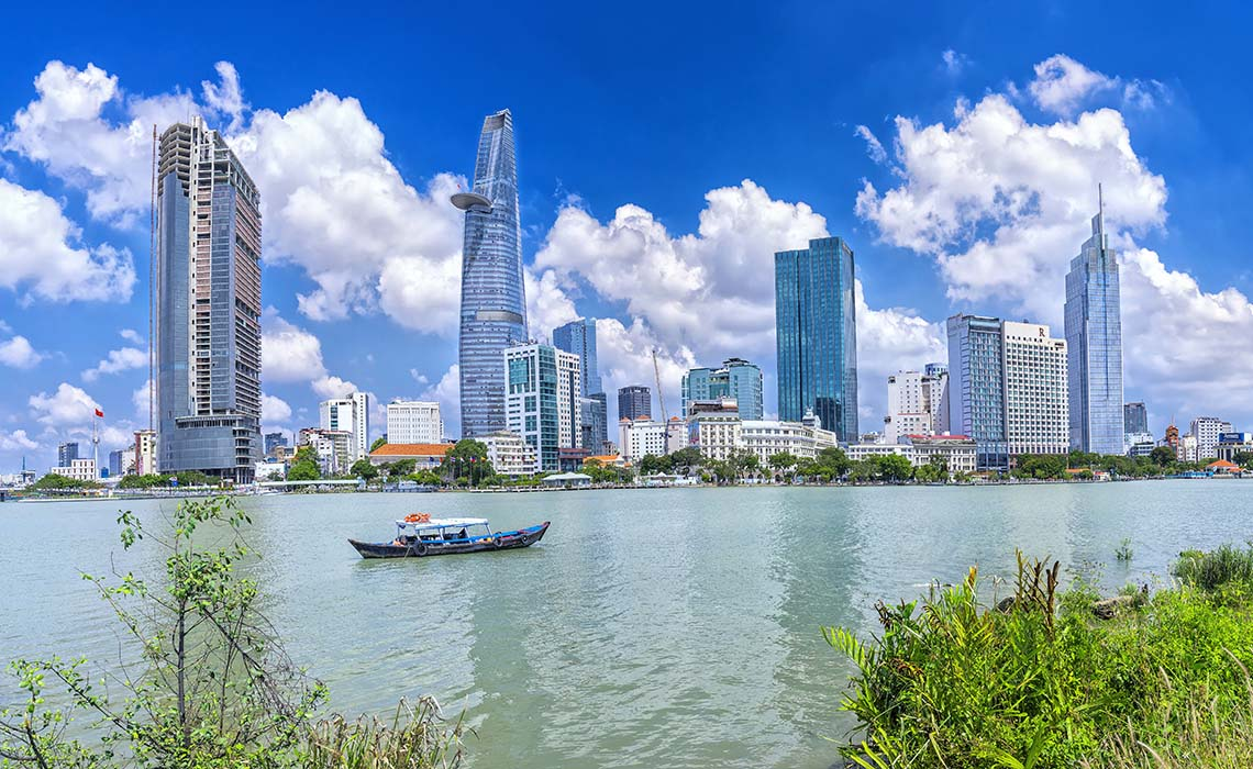 Saigon Skyscrapers along river with architecture office towers