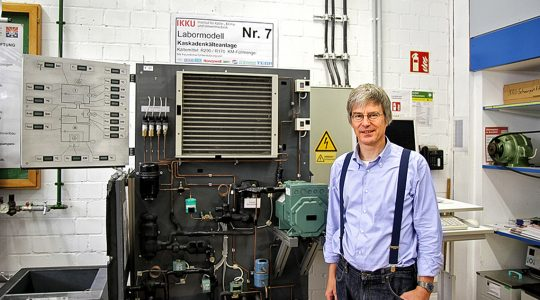 Dr Michael Kauffeld, professor at Karlsruhe University of Applied Sciences in his lab with refrigeration system