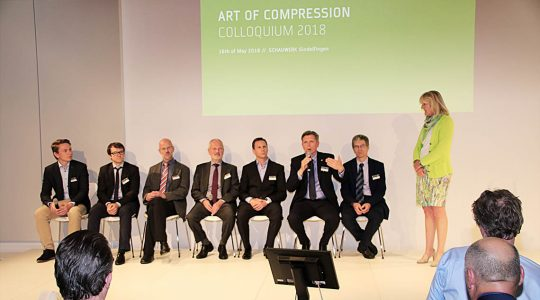 The speakers at the international Art of Compression symposium at the SCHAUWERK Sindelfingen