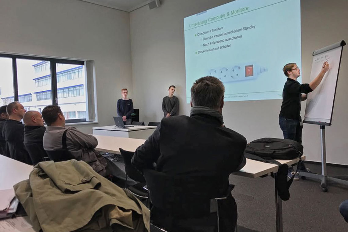 BITZER trainees and future energy scouts listen to a speaker the seminar in Rottenburg-Ergenzingen