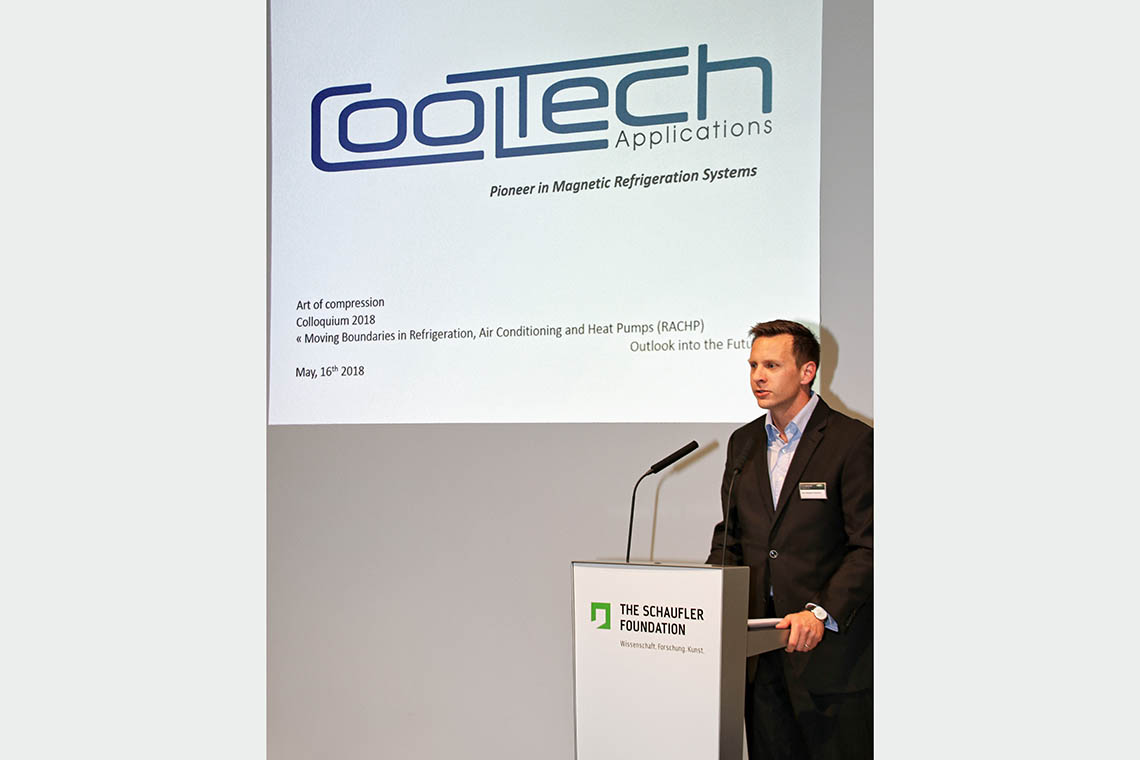 "Jean-Baptiste Chaudron, Research & Development and Innovation Project Manager, Cooltech Applications, during his speech about ""Magnetocaloric Cooling"""