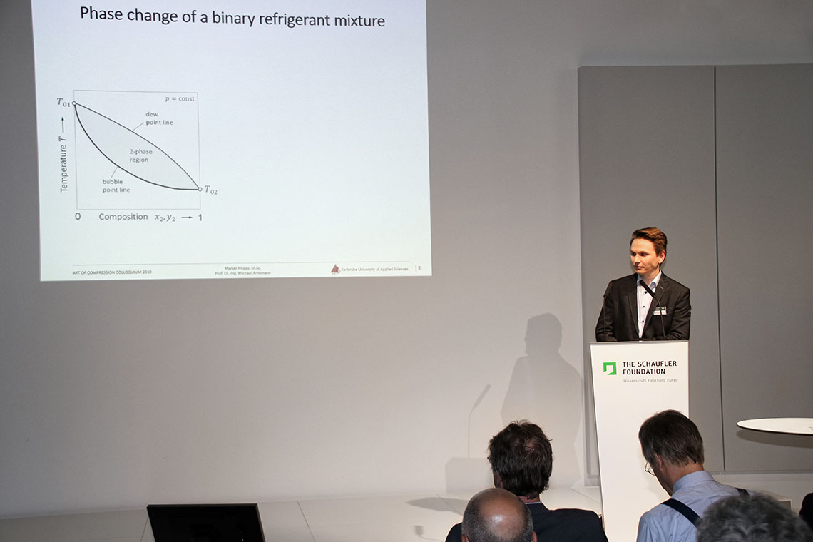 "Marcel Knipps, Institute for Refrigeration, Air-Conditioning and Environmental Technology, University of Applied Science Karlsruhe, gave a lecture on the topic ""Refrigerants with Temperature Glide"""