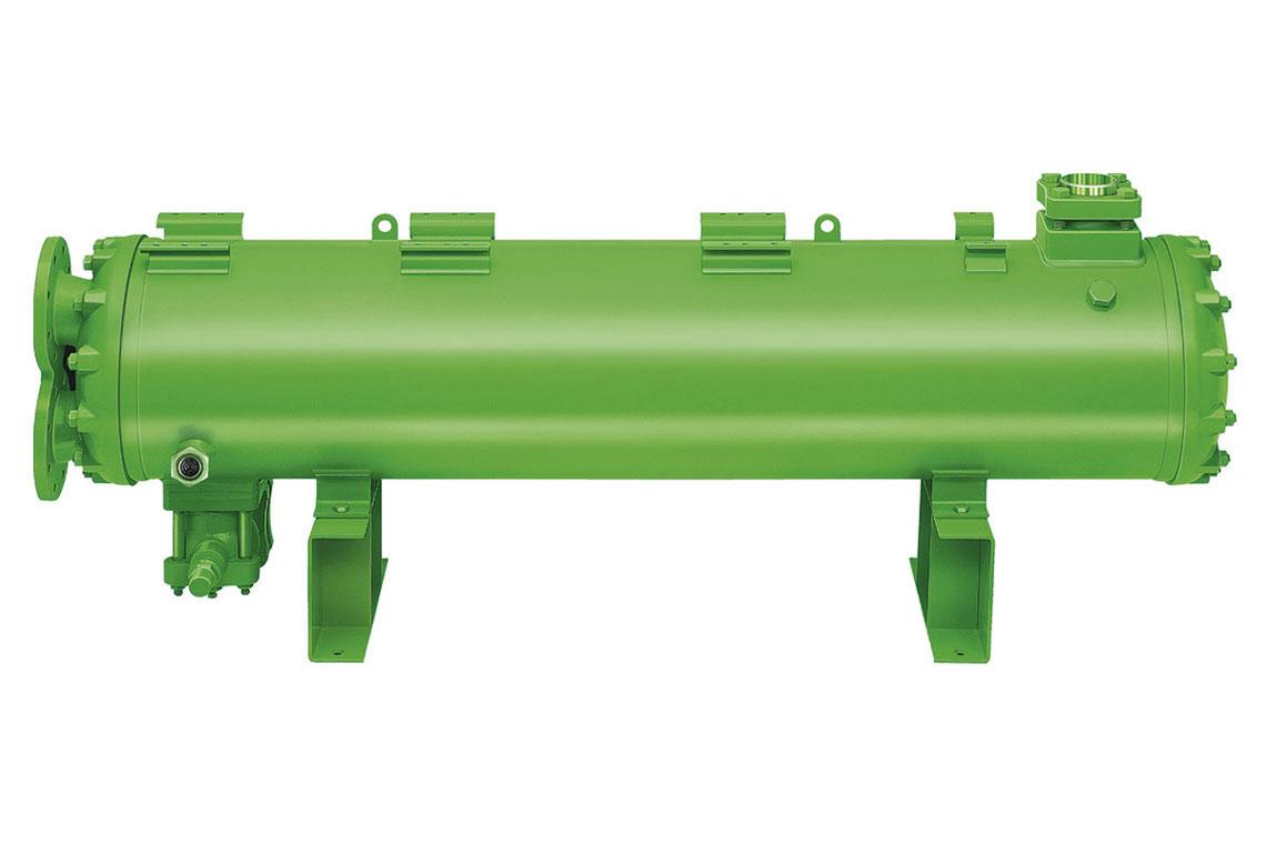 Grüner BITZER Verflüssiger aus dem Produktbereich HEXPV (Wärmeübertrager und Druckbehälter)