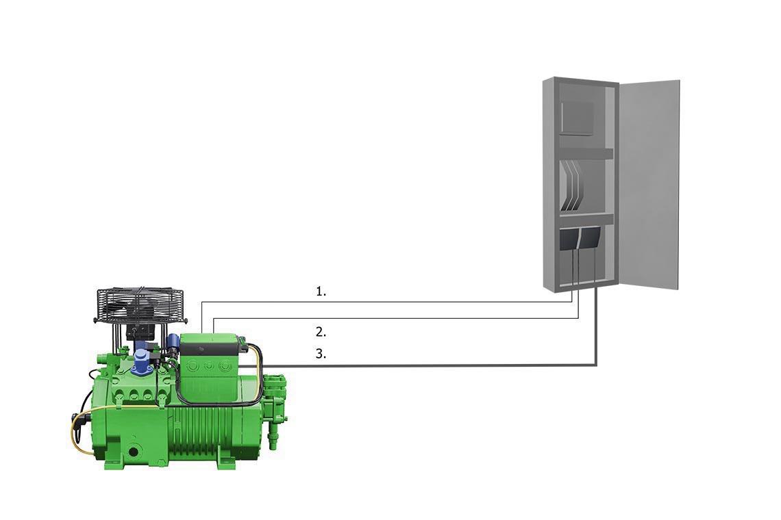 比泽尔 ECOLINE 压缩机与 IQ 模块的电气连接