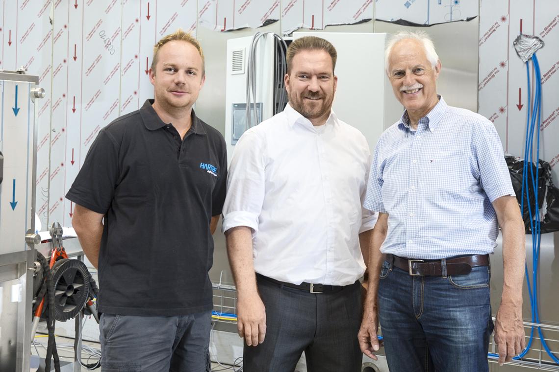 Setzen auf Qualität: Dennis Schiller, Projektleiter bei Harter, Andreas Riesch, Direktor Vertrieb Deutschland und Schweiz bei BITZER, und Reinhold Specht, Geschäftsführender Gesellschafter bei Harter (von links)