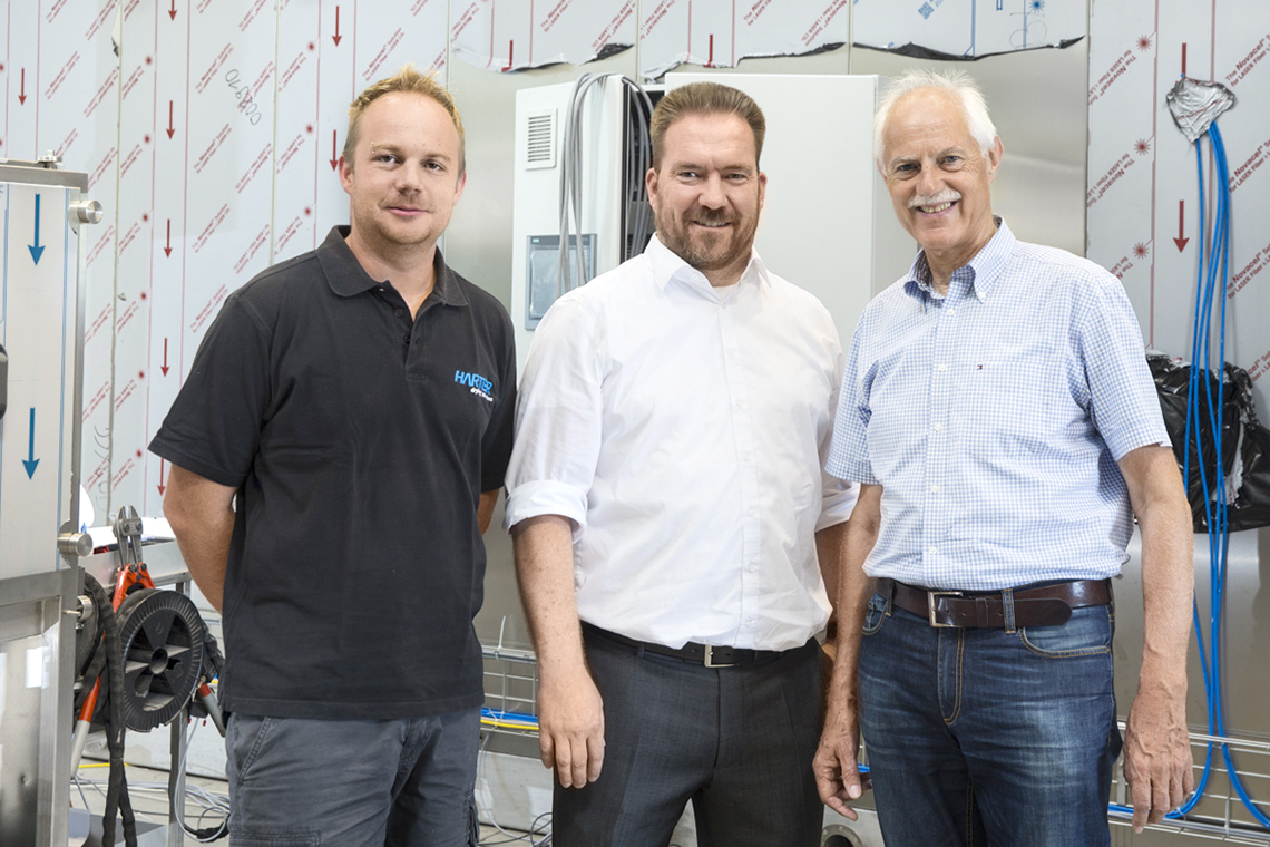 Counting on quality: Dennis Schiller, Project Manager at Harter; Andreas Riesch, BITZER Director of Sales for Germany and Switzerland; and Reinhold Specht, Managing Director of Harter (from left to right)