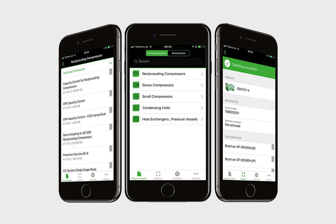 Smartphone with BITZER SPOT App