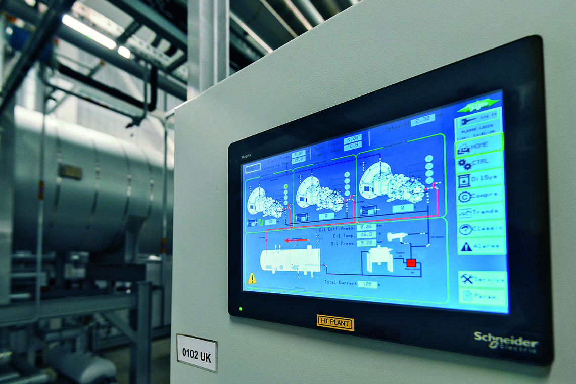 One screw compressor is serviced as the other two continue operating: the system in northern England was commissioned in early 2019 and is now the food manufacturer's most energy-efficient system of its kind
