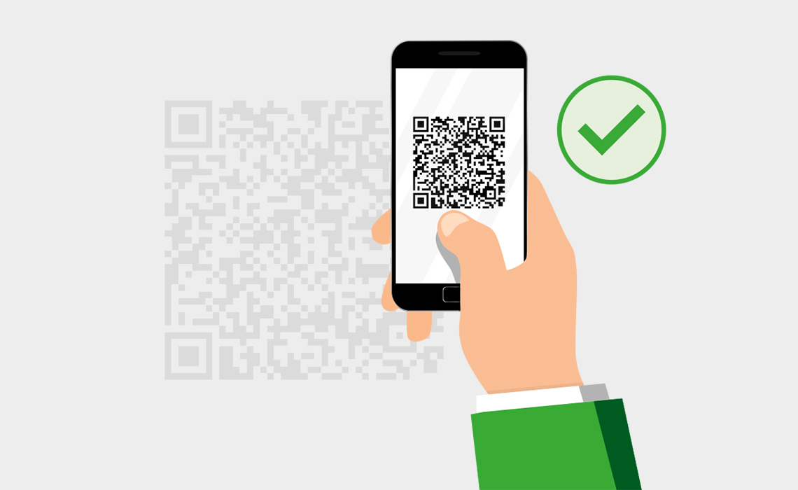 Graphical representation of a QR code scan