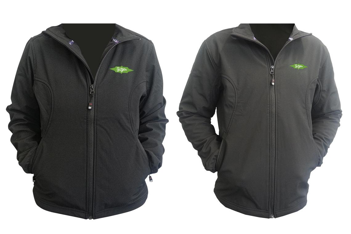 A dark BITZER softshell jacket for men