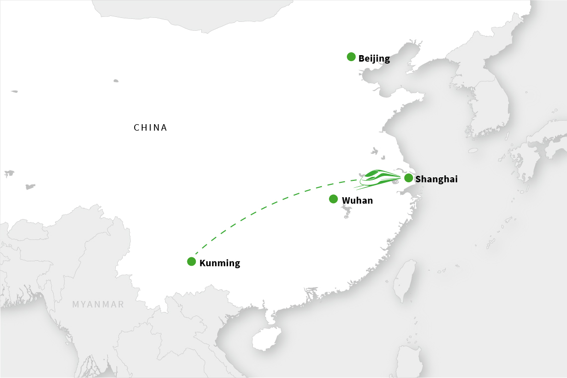 Across China: The express train network in China connects cities several thousand kilometers apart