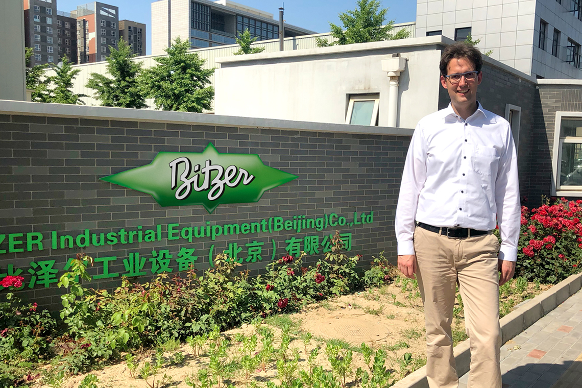 General Manager Garvin Hoefig in front of the new BITZER production facility BIE in Beijing