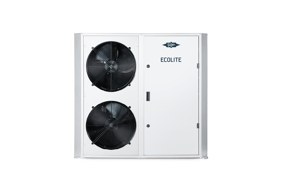 Freigestellter BITZER ECOLITE Verflüssigungssatz mit zwei Ventilatoren