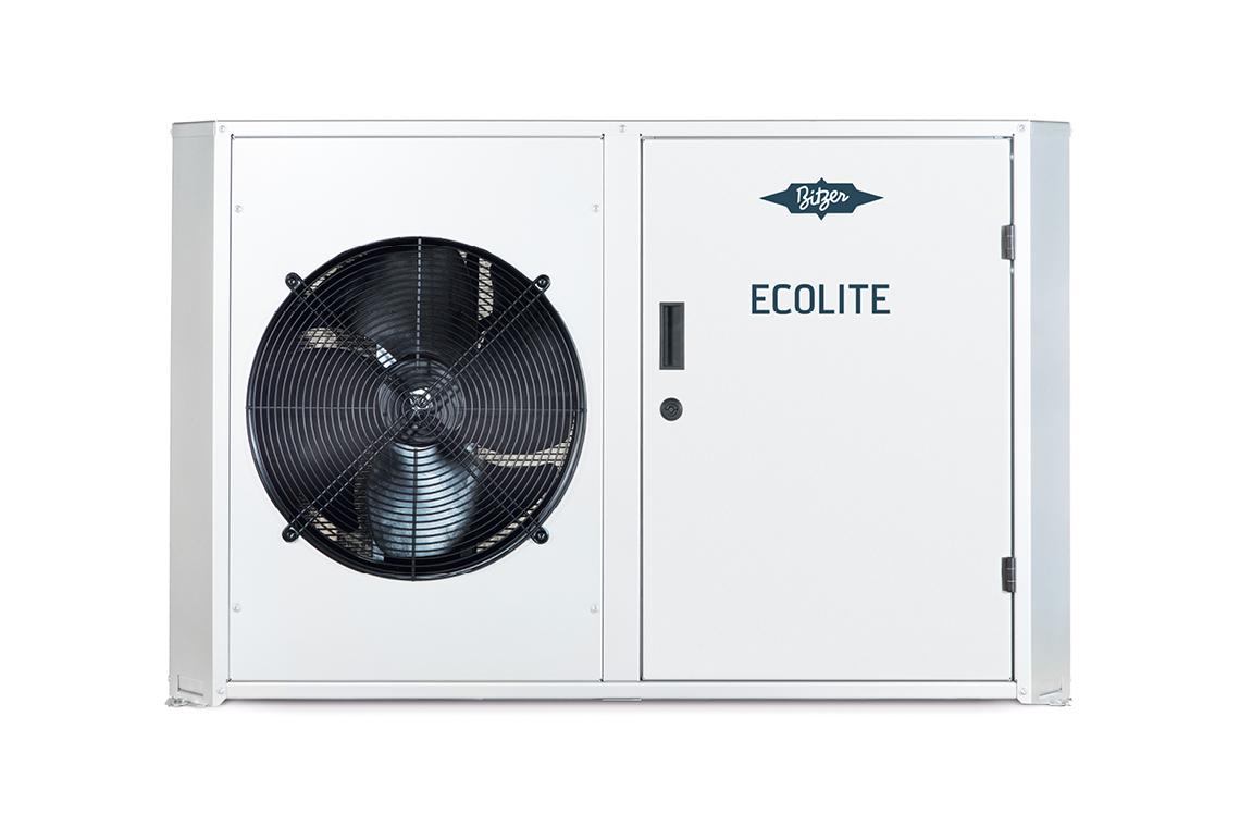 Freigestellter BITZER ECOLITE Verflüssigungssatz mit einem Ventilator