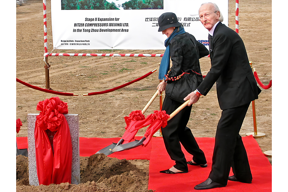Mr and Mrs Schaufler in Beijing lay the foundation stone for BITZER's success in China in 2003