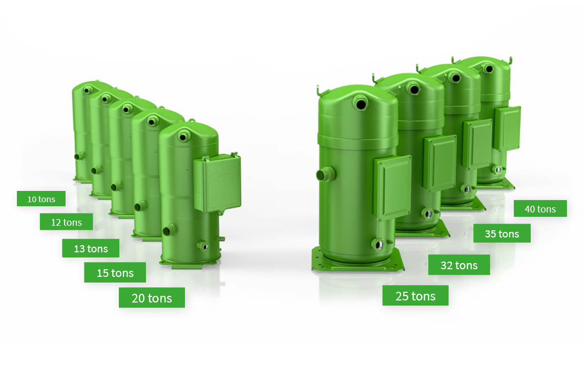 Nine BITZER ORBIT scroll compressors of the product families 6 and 8