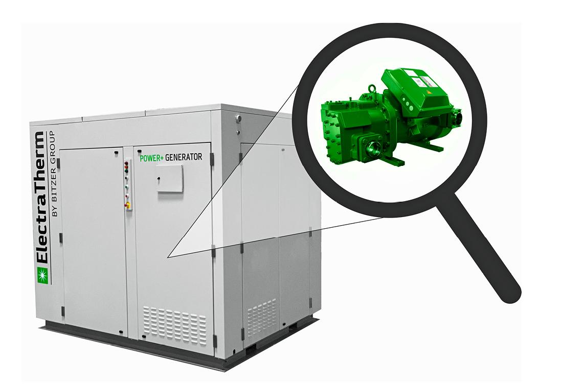 ElectraTherm Power+ Generator mit graumen Kasten. Eine Lupe macht den grünen BITZER Verdichter im ElectraTherm Power+ Generator sichtbar