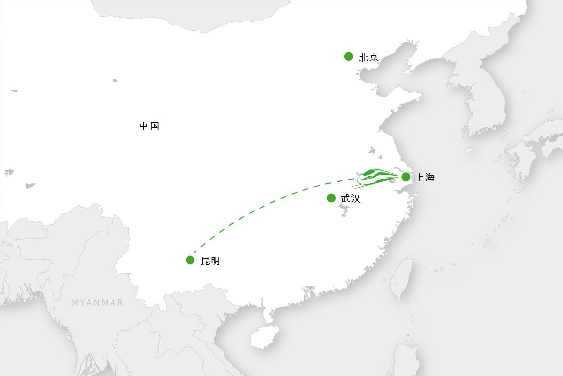 在中国:中国的高铁网络连接着相距几千公里的城市