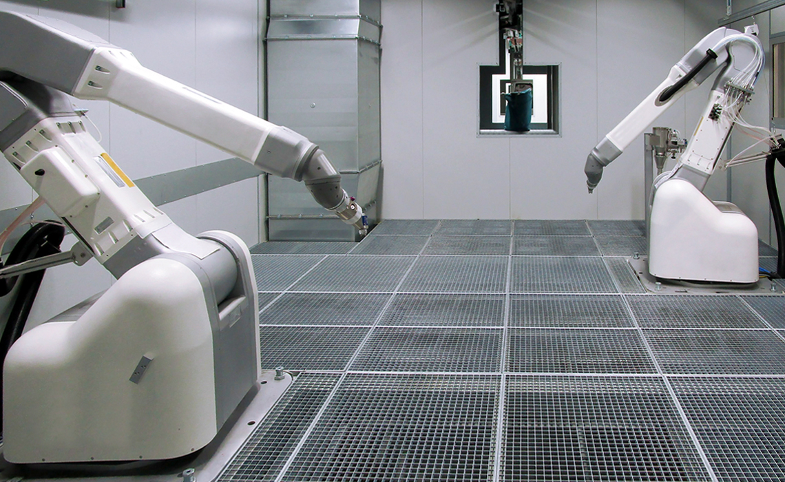 There are six painting robots in the surface treatment system.