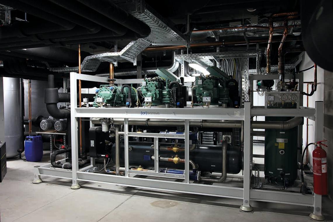 满足制冷方面复杂且个性化的要求:[CF] 系统 —— 来自 Fischer Kälte-Klima 公司,使用了比泽尔螺杆压缩机。图片: Christof Fischer GmbH