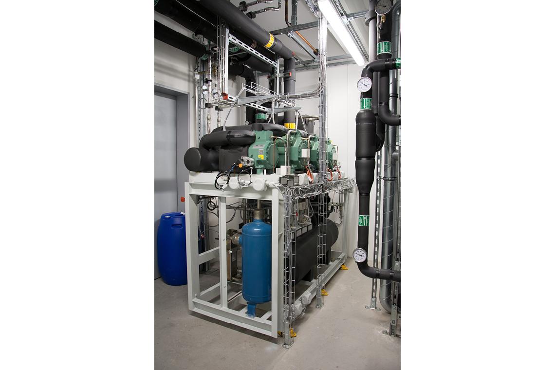 CO₂ Tiefkühlkaskade mit drei grünen BITZER Hubkolbenverdichtern auf Stahlkonstrution
