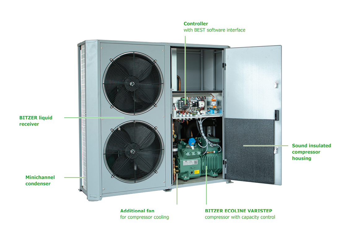 Simple access to all components, thanks to the plug-and-play concept of the ECOLITE condensing unit