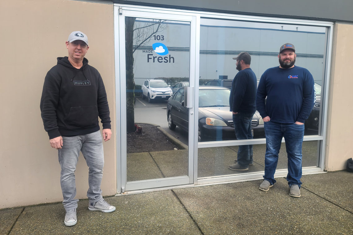 From left: Ron Irwin, Owner of MadeFresh Foods Inc., and Matthew Stewart, President and Owner of IHC Mechanical, on-site